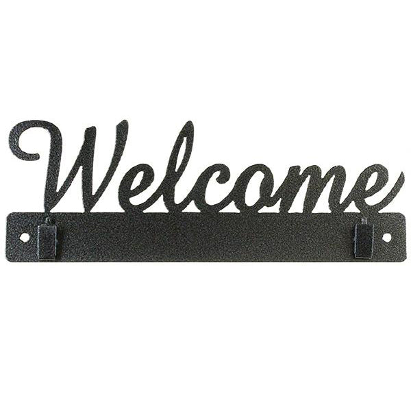 Welcome (with clips) Quilt Wire Hanger 10in