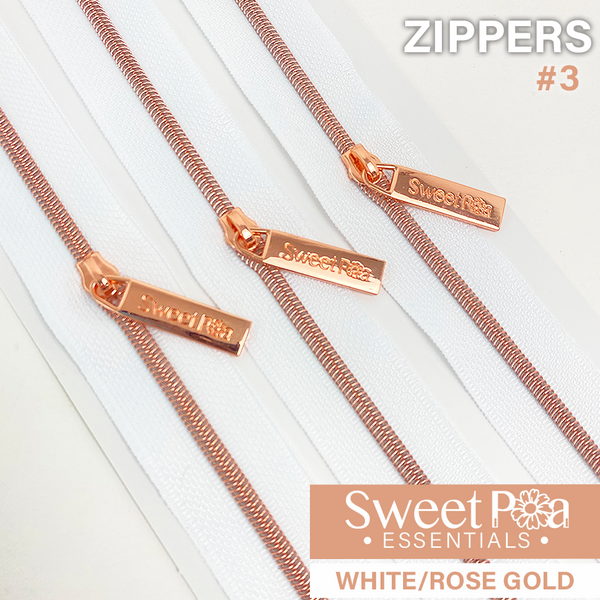Sweet Pea #3 Zippers - WHITE/ROSE GOLD