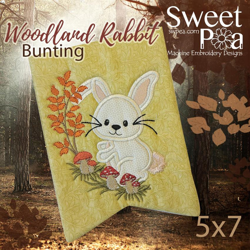 Woodland Rabbit Bunting Addon 5x7 in the hoop machine embroidery design - Sweet Pea In The Hoop Machine Embroidery Design