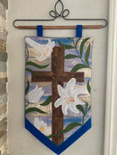 Cross and Easter Lilies Wall Hanging 5x7 6x10 7x12 - Sweet Pea In The Hoop Machine Embroidery Design