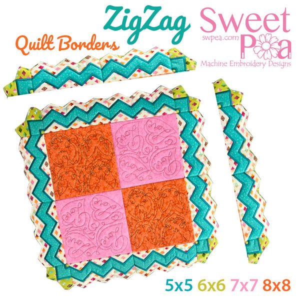 Zigzag quilt border block 5x5 6x6 7x7 and 8x8