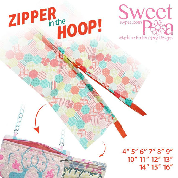 Zippers for multiple hoops 'in the hoop' machine embroidery design - Sweet Pea In The Hoop Machine Embroidery Design