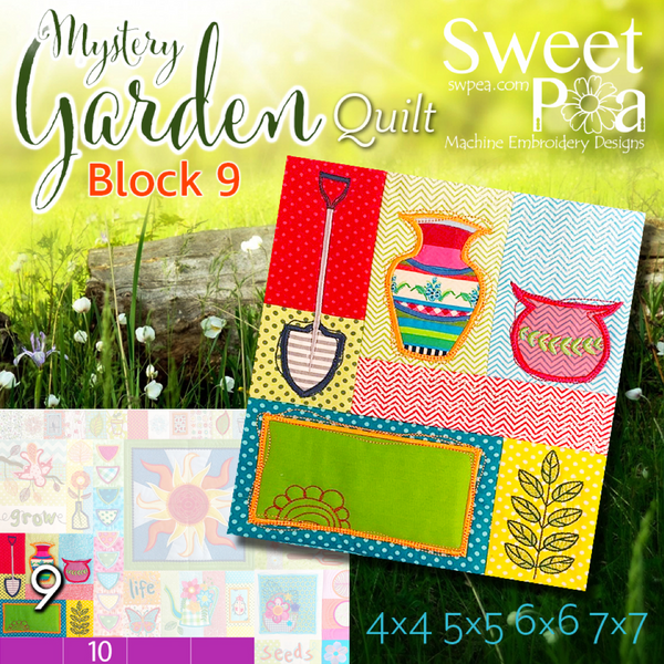 Mystery Garden BOM Sew Along Quilt Block 9 - Sweet Pea In The Hoop Machine Embroidery Design