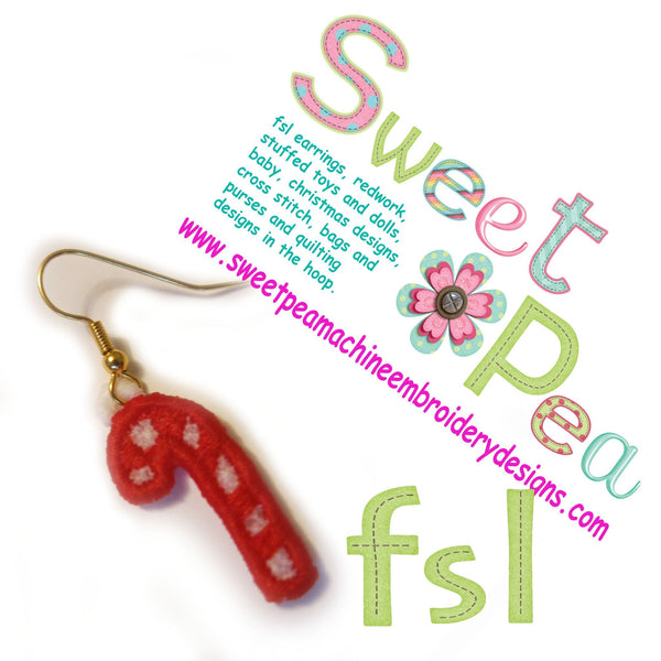 Christmas Candy Cane FSL earrings - Sweet Pea In The Hoop Machine Embroidery Design