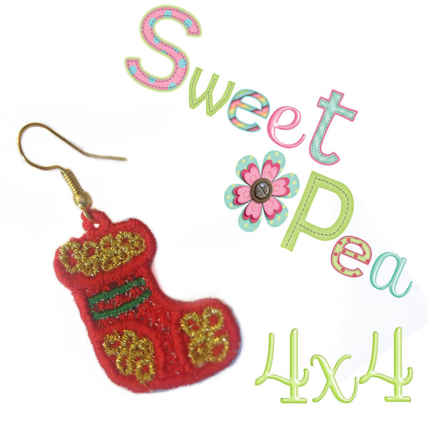 Christmas stocking FSL earrings - Sweet Pea In The Hoop Machine Embroidery Design