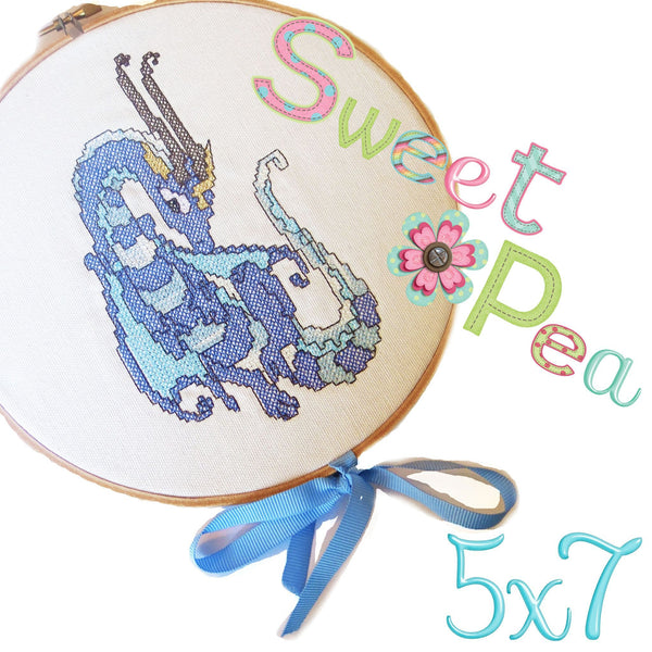 Dragon Cross stitch in the 5x7 hoop freebie - Sweet Pea In The Hoop Machine Embroidery Design