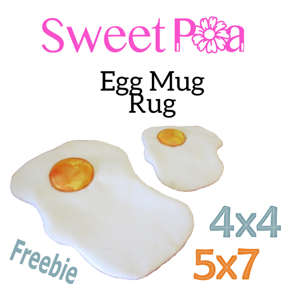 Egg Mugrug - Sweet Pea In The Hoop Machine Embroidery Design