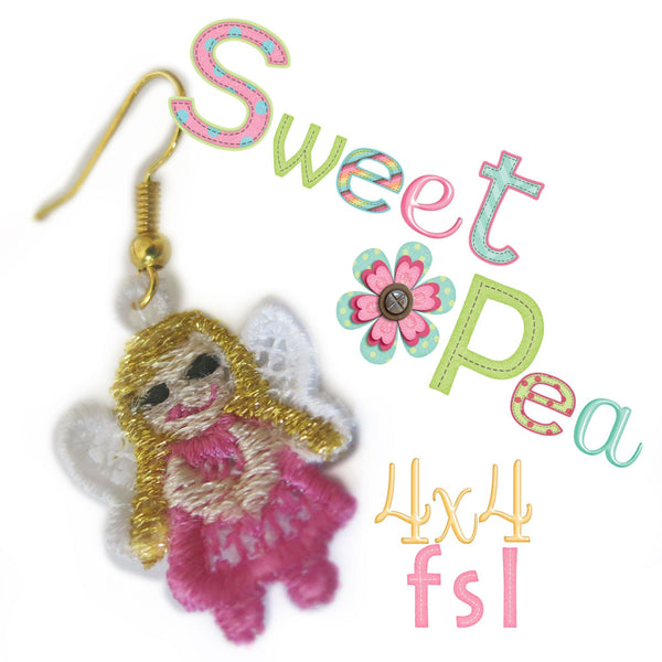Fairy or Angel FSL earrings - Sweet Pea In The Hoop Machine Embroidery Design