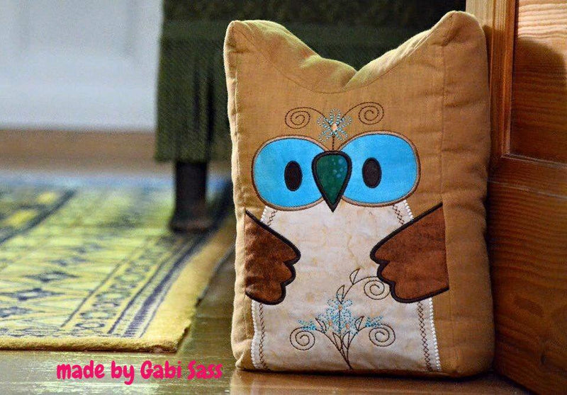Owl Door Stop, Cushion or Stuffie 6x10 7x12 9.5x14 - Sweet Pea In The Hoop Machine Embroidery Design
