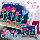 Spring Cushion 5x7 6x10 7x12 and 8x8 - Sweet Pea In The Hoop Machine Embroidery Design