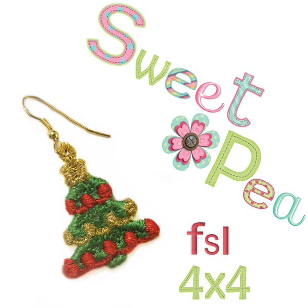 Little Christmas Tree FSL Earrings 4x4 - Sweet Pea In The Hoop Machine Embroidery Design