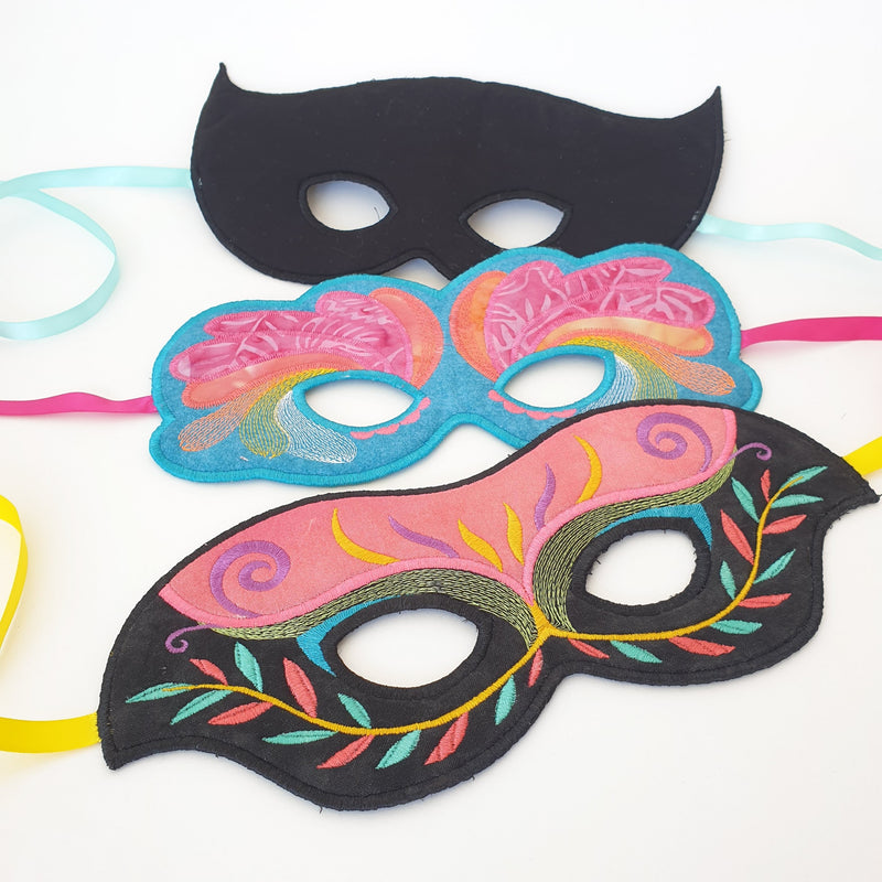 Masquerade Ball Masks 6x10 - Sweet Pea In The Hoop Machine Embroidery Design