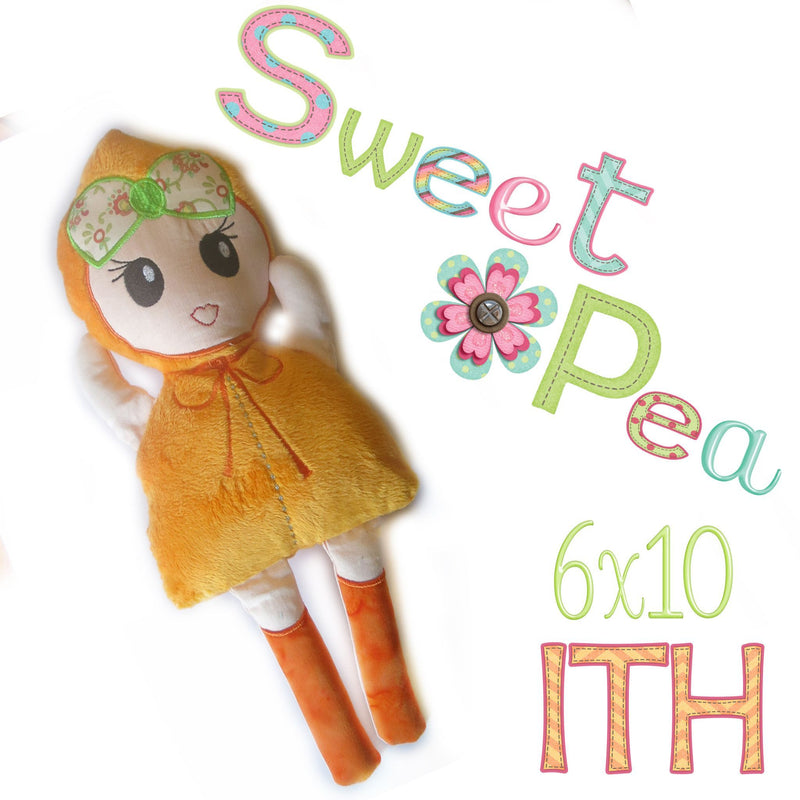 Modern Stuffed Doll - Sweet Pea In The Hoop Machine Embroidery Design