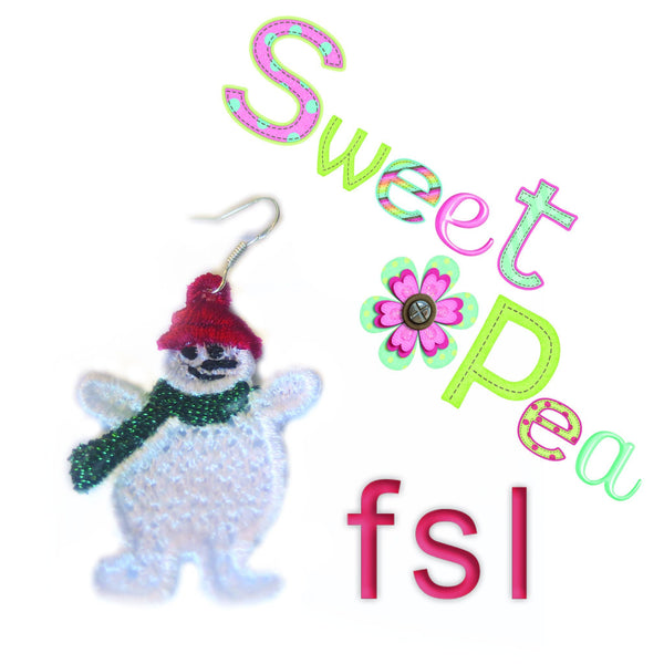 Snowman FSL Earrings - Sweet Pea In The Hoop Machine Embroidery Design