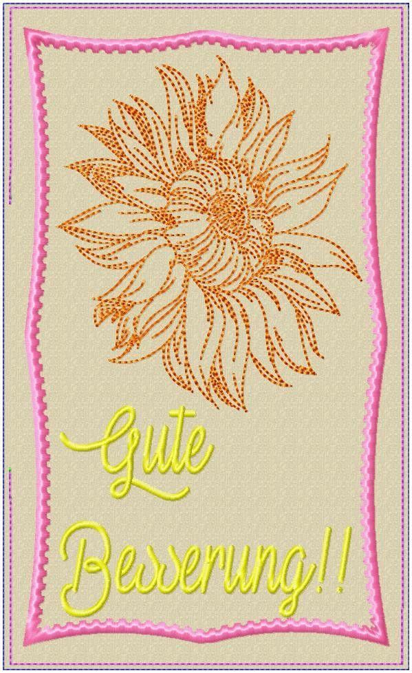 Sunflower Get Well Soon Mugrug 5x7 6x10 7x12 9.5x14 - Sweet Pea In The Hoop Machine Embroidery Design