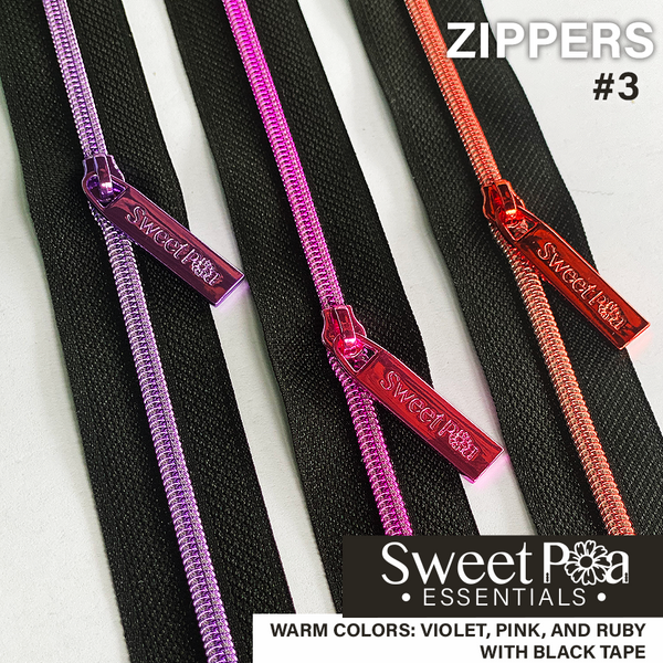 Sweet Pea #3 Zippers - BLACK/WARM COLOURS