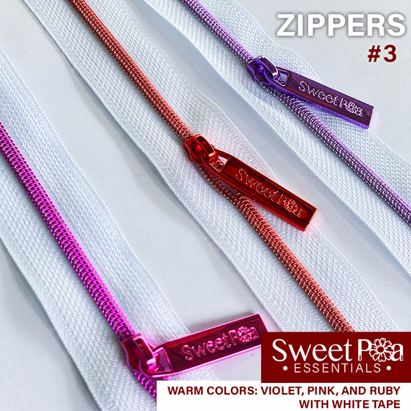 Sweet Pea #3 Zippers - WHITE/WARM COLOURS