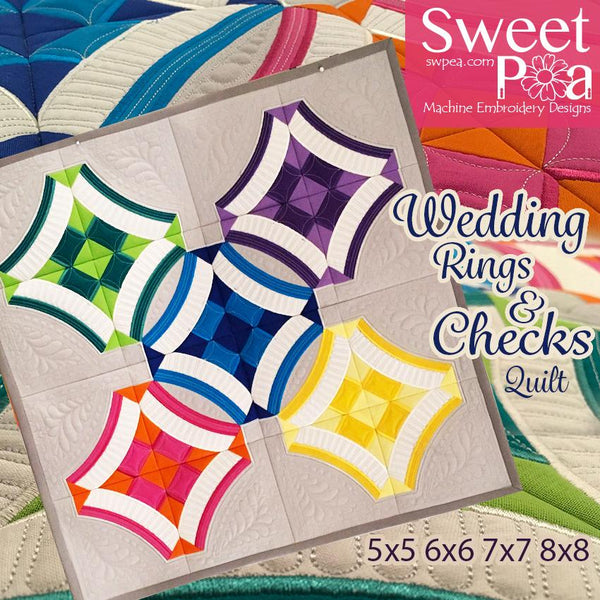 Wedding rings and checks quilt 5x5 6x6 7x7 and 8x8 in the hoop machine embroidery design - Sweet Pea In The Hoop Machine Embroidery Design