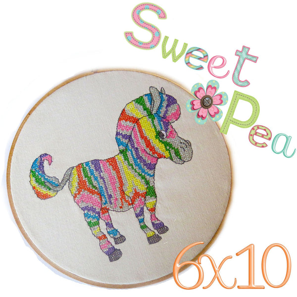 Zebra rainbow cross stitch in the 6x10 hoop - Sweet Pea In The Hoop Machine Embroidery Design