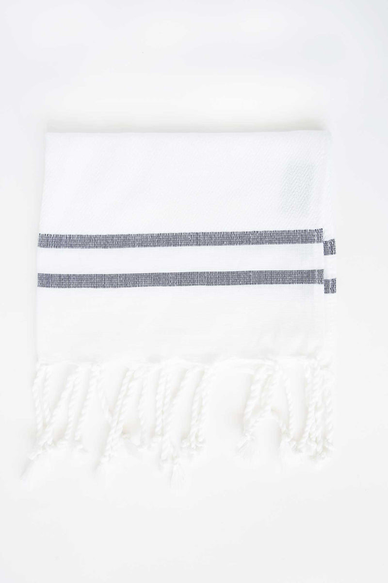 Black & White Herringbone Guest Towel