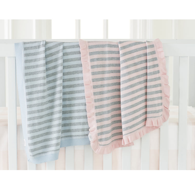 Blue & Grey Stripe Knit Blanket