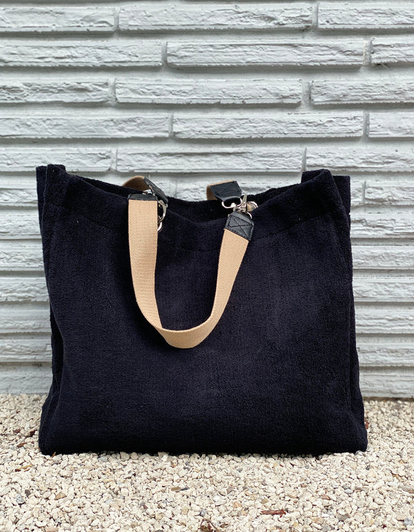 Black Terry Cloth Tote