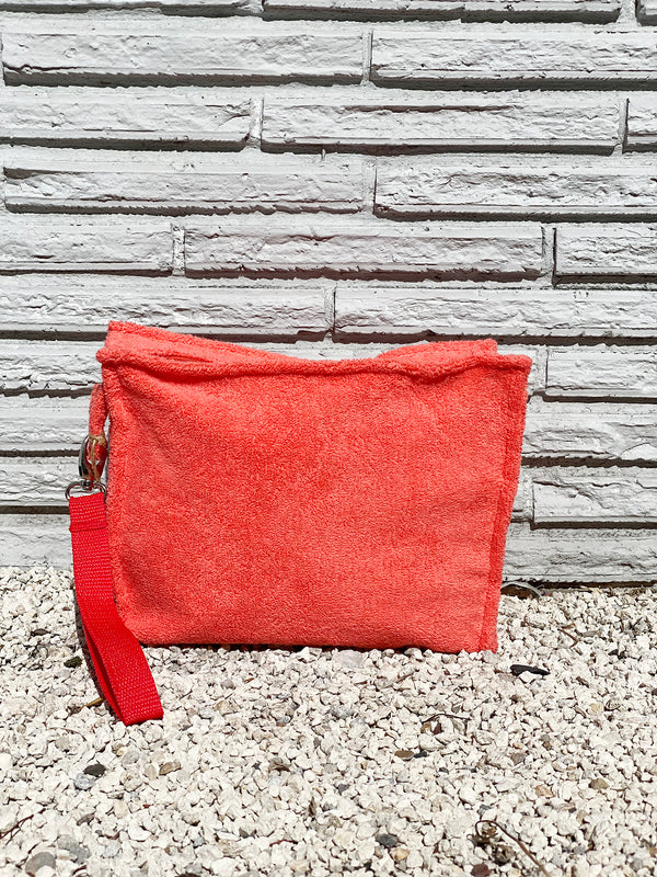 Large Tangerine Terry Pouch