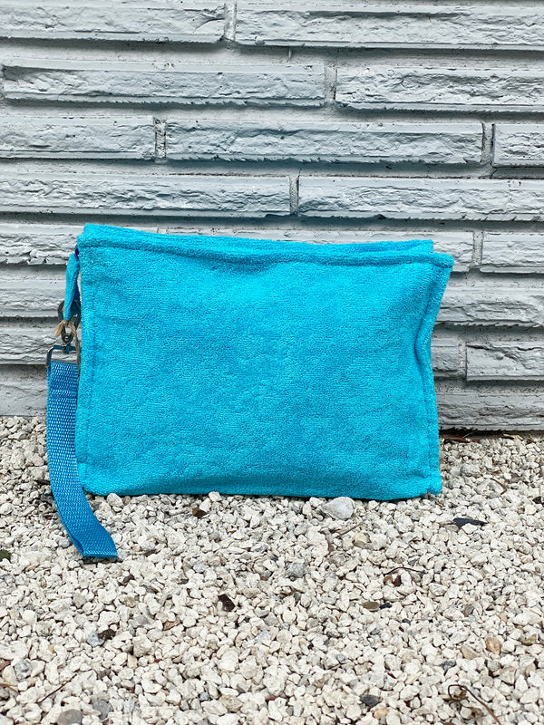 Large Turquoise Terry Pouch
