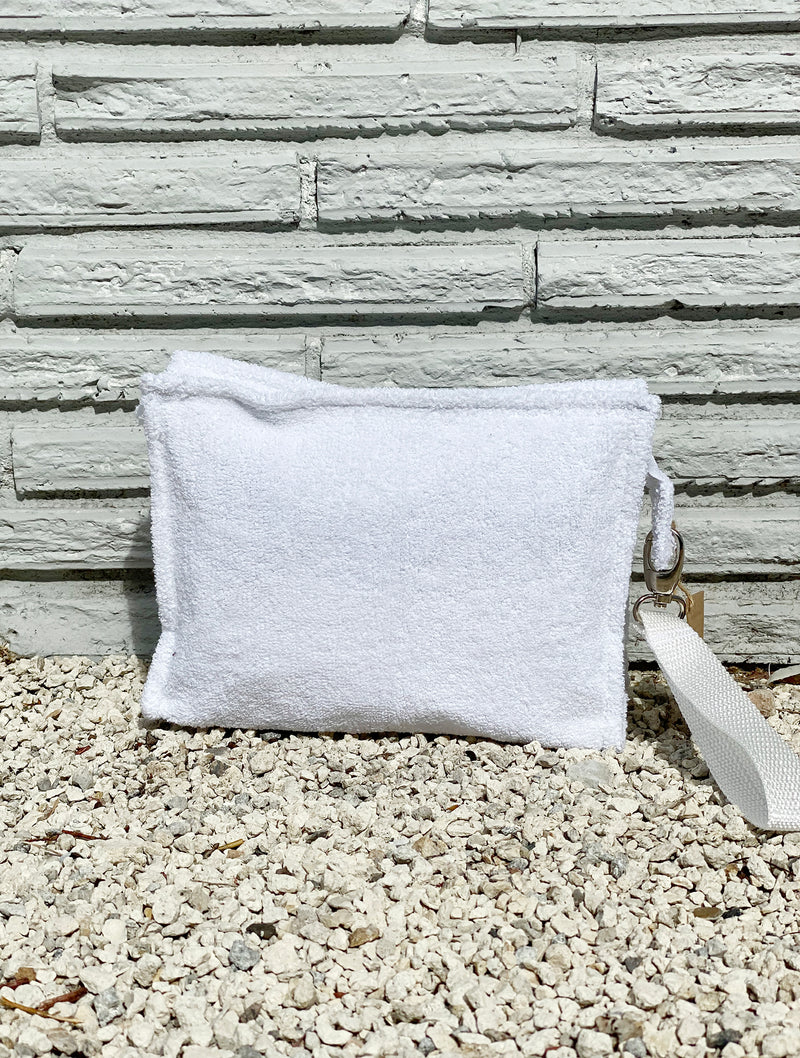 Large White Terry Pouch