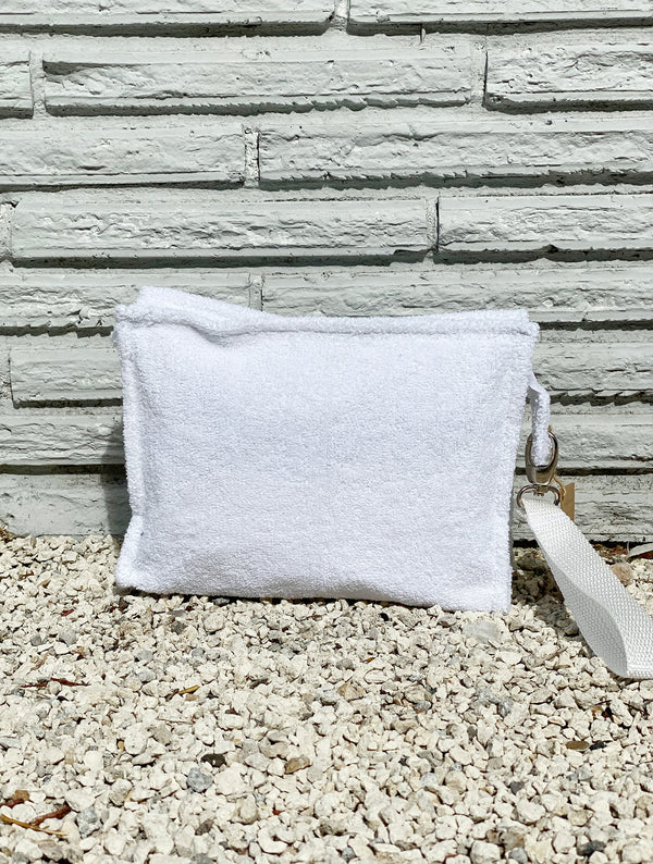 Small White Terry Pouch