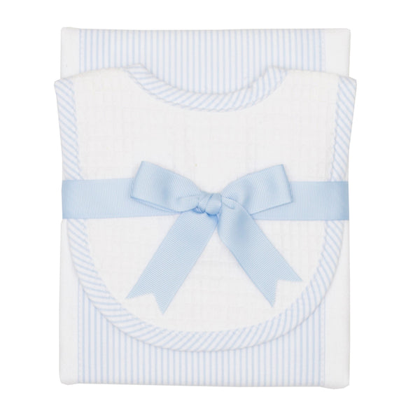 Baby Blue Seersucker Drooler Bib & Burp Cloth Set
