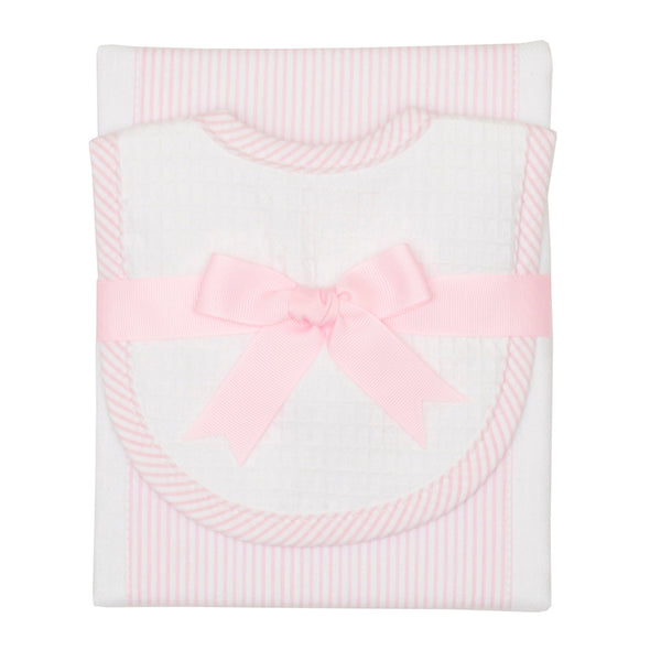 Pink Seersucker Drooler Bib & Burp Cloth Set