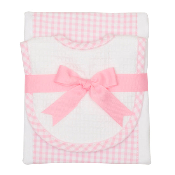 Pink Checkered Drooler Bib & Burp Cloth Set