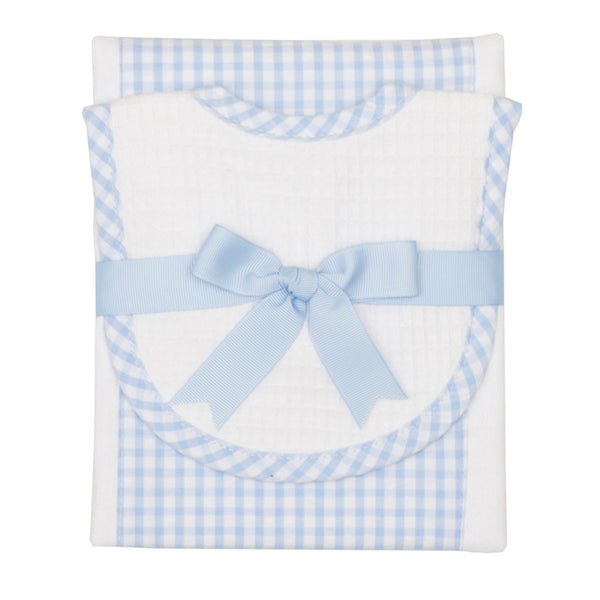 Blue Checkered Drooler Bib & Burp Cloth Set