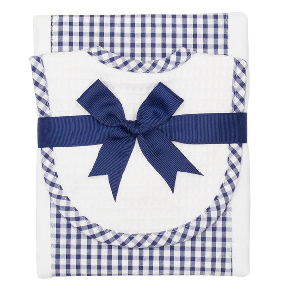 Navy Checkered Drooler Bib & Burp Cloth Set