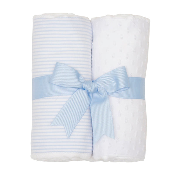 Blue Seersucker Set of 2 Burp Cloths