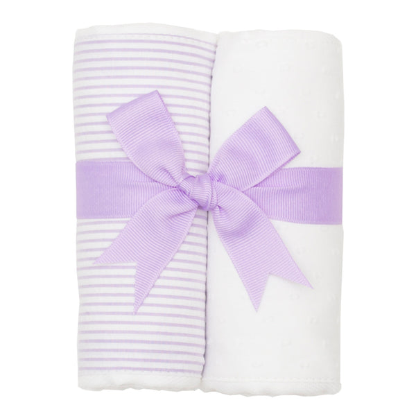 Lilac Seersucker Set of 2 Burp Cloths