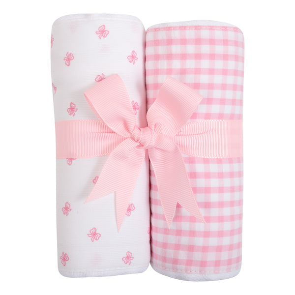 Pink Bow Set of 2 Burp Cloths