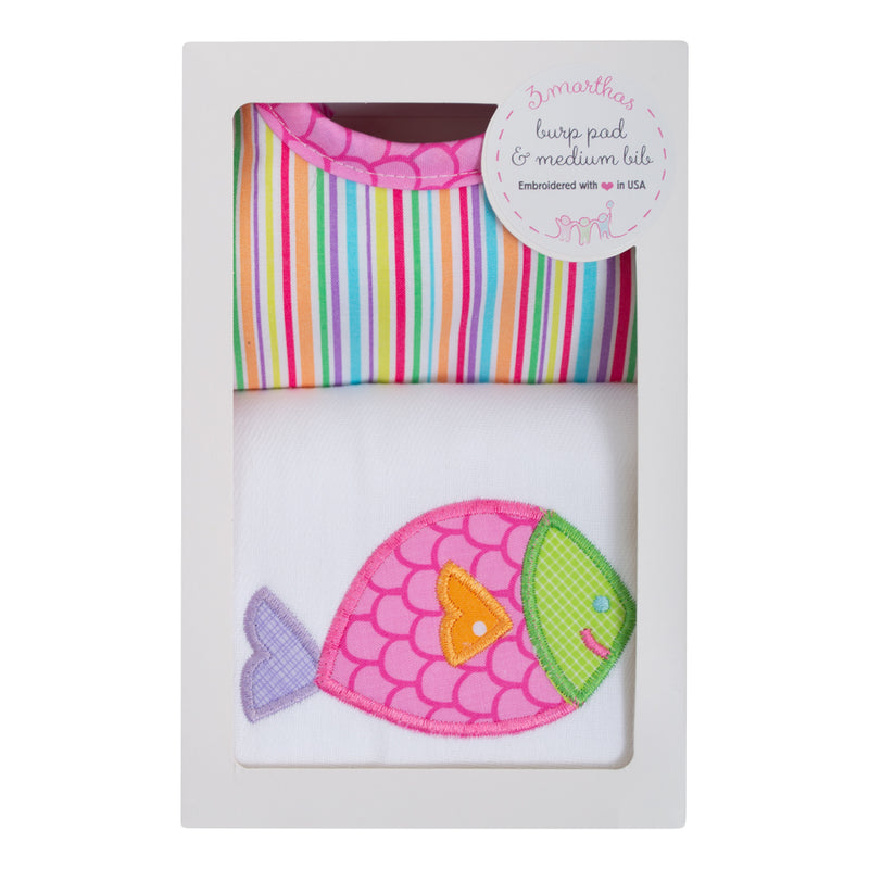 Pink Fish Bib & Burp Box