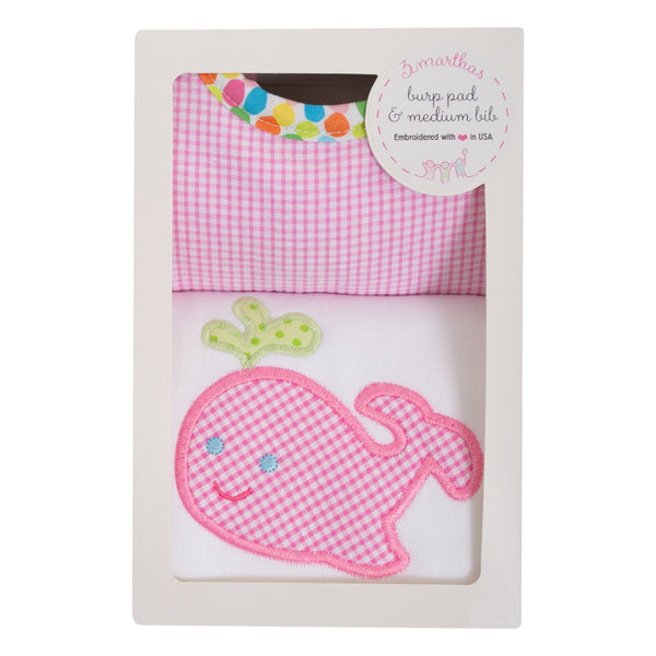 Pink Whale Bib & Burp Box