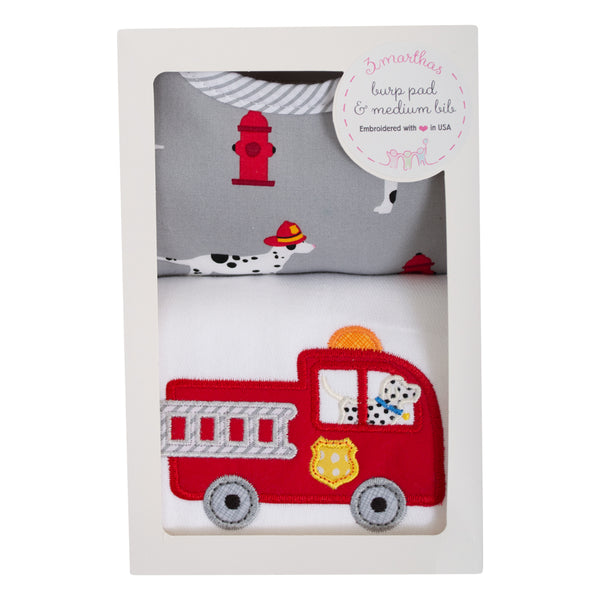 Firetruck Bib & Burp Box