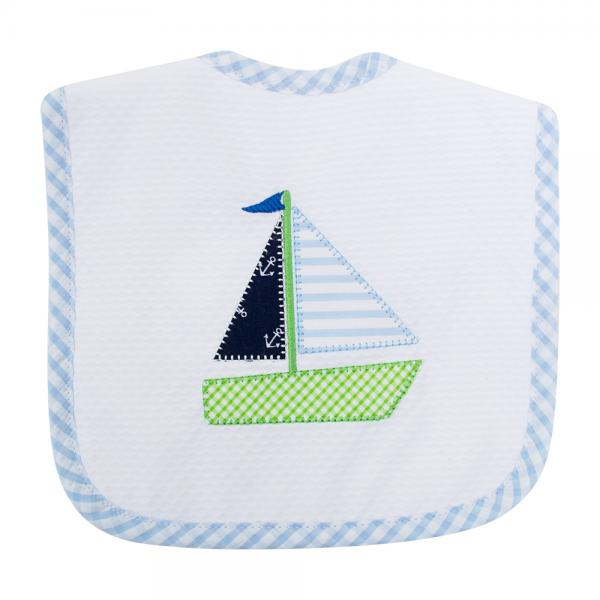 Blue Sailboat Feeding Bib