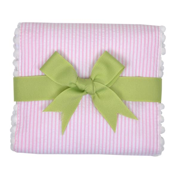 Pink Little Lamb Fancy Fabric Burp