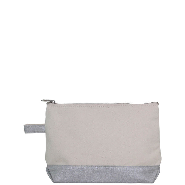 Makeup Bag Metallics Natural & Silver