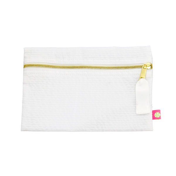 White Seersucker Cosmo Bag