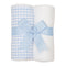 Blue Checkered Set of 2 Burp Cloths