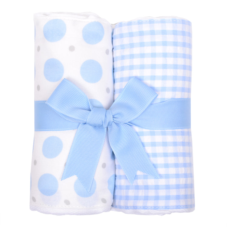 Blue Elephant Set of 2 Burp Cloths
