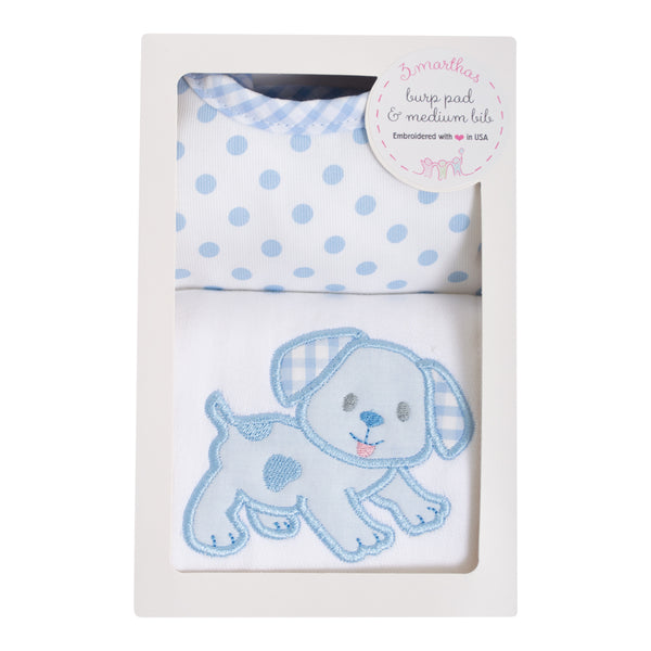 Blue Puppy Bib & Burp Box
