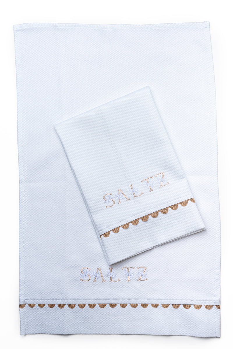 Cotton Pique Guest Towel with Gold Trim