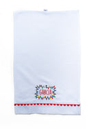 Cotton Pique Guest Towel with Red Trim